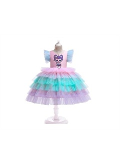 Unika Moda Unika Moda Renkli Unicorn Kız Çocuk Elbise